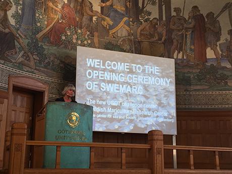 Pam Fredman, rektor vid Göteborgs universitet inviger nytt nationellt centrum för för marin vattenbruksforskning, 5 september 2016